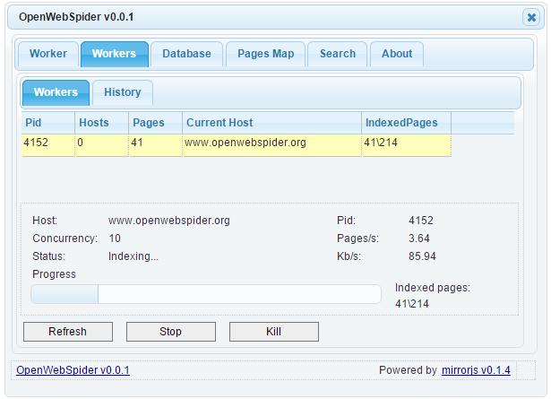OpenWebSpider mirrorjs UI
